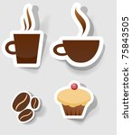 set of flat coffee icon | Shutterstock .eps vector #75843505
