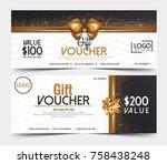 gift voucher template or... | Shutterstock .eps vector #758438248