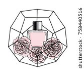 parfum and roses in geometrical ... | Shutterstock .eps vector #758440516