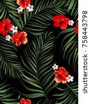 seamless  tropical vector...   Shutterstock .eps vector #758443798
