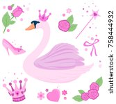 vector fairy tale set with a... | Shutterstock .eps vector #758444932