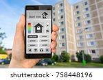 smart home control app on... | Shutterstock . vector #758448196