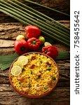 homemade indian vegetable pulav ...   Shutterstock . vector #758455642
