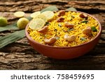 the indian pulav  it is a... | Shutterstock . vector #758459695