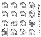 simple set of real estate... | Shutterstock .eps vector #758467336