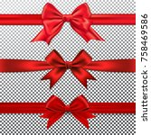 set of red gift bow and ribbon. | Shutterstock .eps vector #758469586