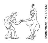 dancing seniors. happy old... | Shutterstock .eps vector #758470132