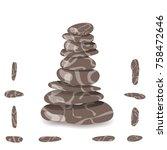 stone pyramid. stock vector... | Shutterstock .eps vector #758472646