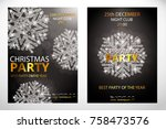 set of posters with snowflakes. ... | Shutterstock .eps vector #758473576
