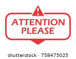 attention please. badge with... | Shutterstock .eps vector #758475025