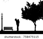 grandfather carrying a child... | Shutterstock .eps vector #758475115