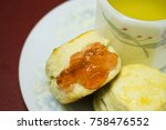 biscuit with jam strawberry | Shutterstock . vector #758476552