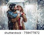 young romantic couple is having ... | Shutterstock . vector #758477872