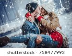 young romantic couple is having ... | Shutterstock . vector #758477992