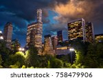 central park and skyscrapers at ...   Shutterstock . vector #758479906