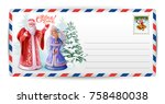 letter post card to santa claus.... | Shutterstock .eps vector #758480038