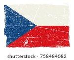 grunge flag of the czech...   Shutterstock .eps vector #758484082