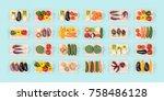 fresh organic vegetables...   Shutterstock . vector #758486128