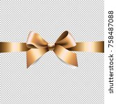 golden ribbon bow with gradient ... | Shutterstock .eps vector #758487088