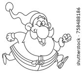outlined santa claus running.... | Shutterstock .eps vector #758488186