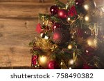 christmas decorations and gifts ... | Shutterstock . vector #758490382