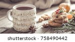 christmas composition with cup...   Shutterstock . vector #758490442