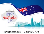 26 january happy australia day. ... | Shutterstock .eps vector #758490775