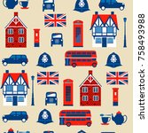 seamless pattern with taxi ... | Shutterstock .eps vector #758493988