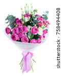 bouquet of fresh beautiful pink ...   Shutterstock . vector #758494408