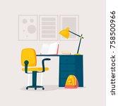 table for homework. flat design ... | Shutterstock .eps vector #758500966