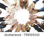 diverse people hands together... | Shutterstock . vector #758505142