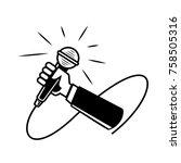 hand held microphone...   Shutterstock .eps vector #758505316