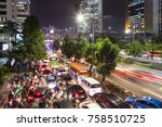 traffic jam on the chaotic road ... | Shutterstock . vector #758510725