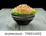 instant noodle in the bowl on...   Shutterstock . vector #758511052