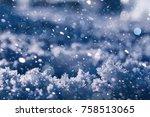 texture of ice in winter.... | Shutterstock . vector #758513065