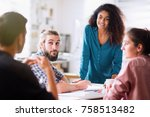 meeting at the office. a... | Shutterstock . vector #758513482