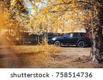 autumn nature. leaves and... | Shutterstock . vector #758514736