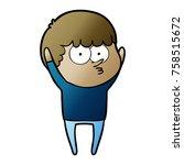 cartoon curious boy | Shutterstock .eps vector #758515672