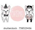 merry christmas illustration... | Shutterstock .eps vector #758523436