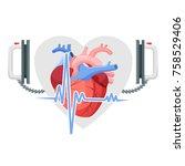 human heart  modern... | Shutterstock .eps vector #758529406
