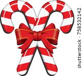 realistic candy cane with... | Shutterstock .eps vector #758532142