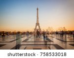 blurred people on trocadero... | Shutterstock . vector #758533018