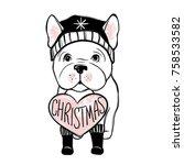 merry christmas illustration... | Shutterstock .eps vector #758533582