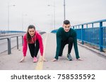 young sport couple in starting... | Shutterstock . vector #758535592