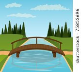 Small Wooden Bridge. Vector...