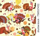 seamless pattern cartoon... | Shutterstock .eps vector #758537452