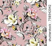 Stock photo watercolor seamless pattern with leaves and colorful flowers on pink background 758542042