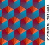 geometric triangle pattern...   Shutterstock .eps vector #758542066