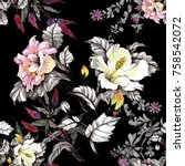 watercolor seamless pattern... | Shutterstock . vector #758542072