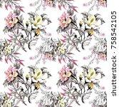 watercolor seamless pattern... | Shutterstock . vector #758542105